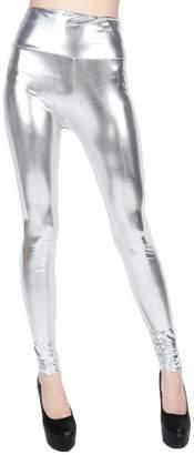 ELLAZHU Women Metallic Stretch Faux Leather Legging Pants 2143