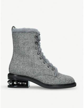 Nicholas Kirkwood Suzi wool and shearling combat boots