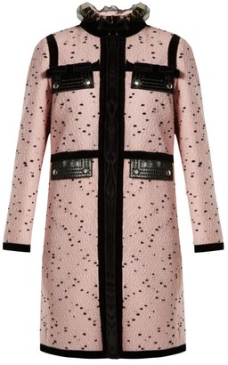 Giambattista Valli Velvet Trimmed Boucle Tweed Coat - Womens - Pink