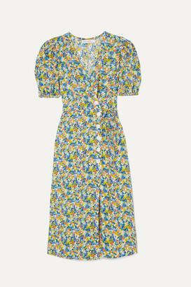 Faithfull The Brand Marta Floral-print Crepe Wrap Midi Dress - Light blue