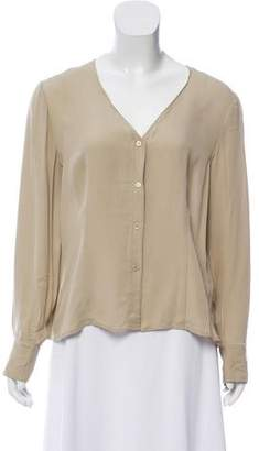 Reformation Long Sleeve Collarless Blouse
