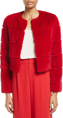 Alice + Olivia Theon Open-Front Rabbit Coat