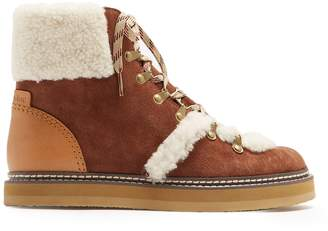 See by Chloe Aileen shearling-trimmed suede ankle boots