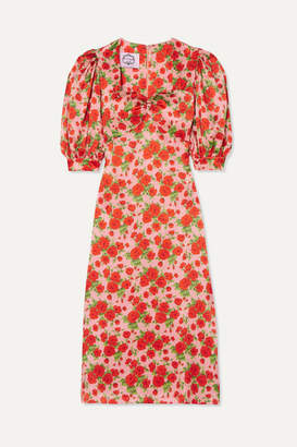 Evi Grintela - Vanessa Floral-print Silk-satin Midi Dress - Red