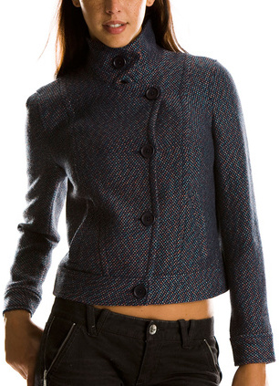 Cropped Multicolor Tweed Jacket