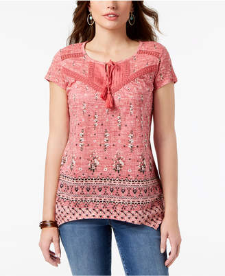 Style&Co. Style & Co Petite Printed Crochet-Trim Top, Created for Macy's