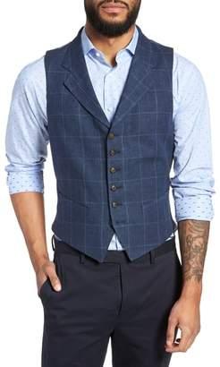 Strong Suit Stag Trim Fit Windowpane Linen Vest