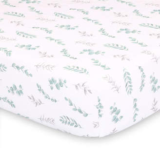 The Peanut Shell The Farmhouse Floral Leaves Fitted Crib Sheet Bedding