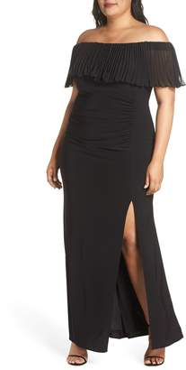 Xscape Evenings Pleated Chiffon Popover Gown