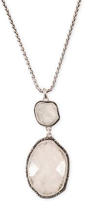 Lucky Brand Silver-Tone Organic Stone Pendant Necklace