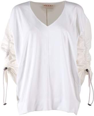 Marni Jersey And Linen Drawstring Sleeve Sweatshirt
