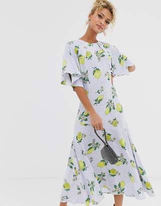 Never Fully Dressed cap sleeve midaxi dress in lemon print