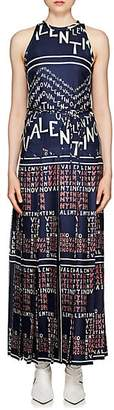 Valentino Women's Logo-Puzzle Silk Sleeveless Dress - Blue