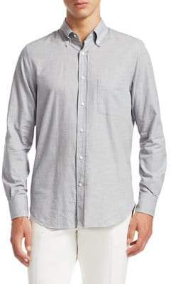 Loro Piana Francis Cotton Herringbone Button-Down Shirt
