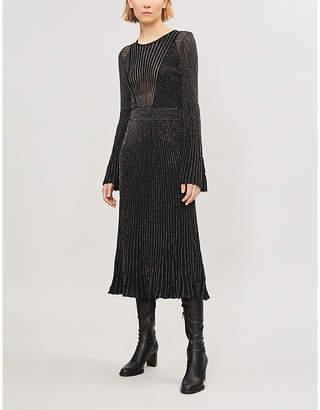 Maje Regular flared-sleeve metallic-knit midi dress