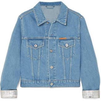 Paco Rabanne Cropped Two-tone Denim Jacket - Blue