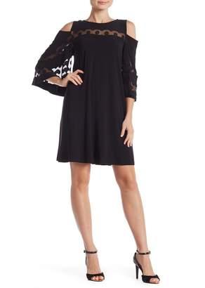 Nina Leonard 3/4 Sleeve Cold Shoulder Lace Dress