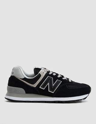 New Balance 574 Suede Sneaker in Black/White