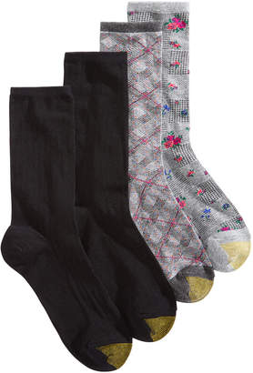 Gold Toe 4-Pk. Glen Plaid Crew Socks 5975F, Created for Macy's