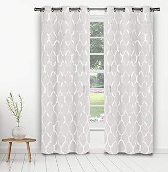 Camilla And Marc Kelvin Alena Blackout Room Darkening Window Curtain with Set of 2 Panels, Polyester, White, 84 x 38 x 84 cm
