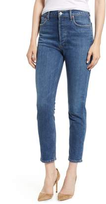 A Gold E AGOLDE Nico High Waist Crop Slim Fit Jeans