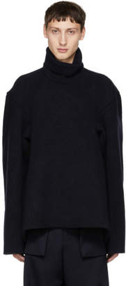 Hed Mayner Navy Thick Wool Turtleneck Sweater