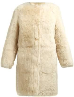 Yves Salomon Collarless Shearling Coat - Womens - Beige