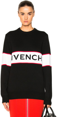 Givenchy Logo Knit Sweater in Black | FWRD