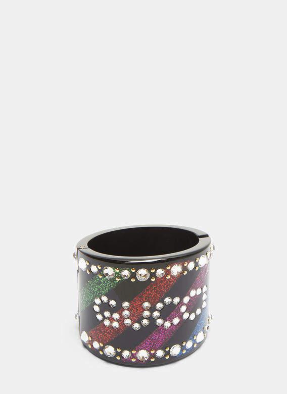Crystal Cuff Bracelet in Black