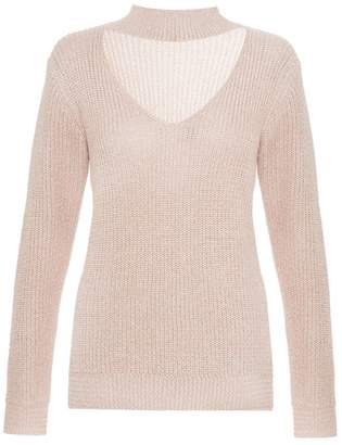 Quiz Nude Knitted Choker Jumper