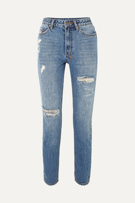 Ksubi Slim Pin Rushed Distressed High-rise Jeans