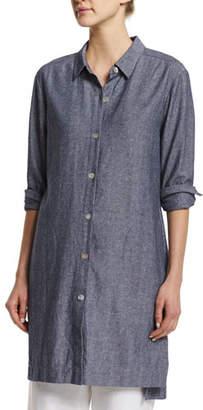 Go Silk Long-Sleeve Cross-Dye Linen Duster Jacket