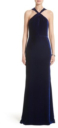 Women's St. John Evening Draped Front Velvet Gown $1,495 thestylecure.com