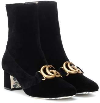 Gucci Embellished velvet ankle boots