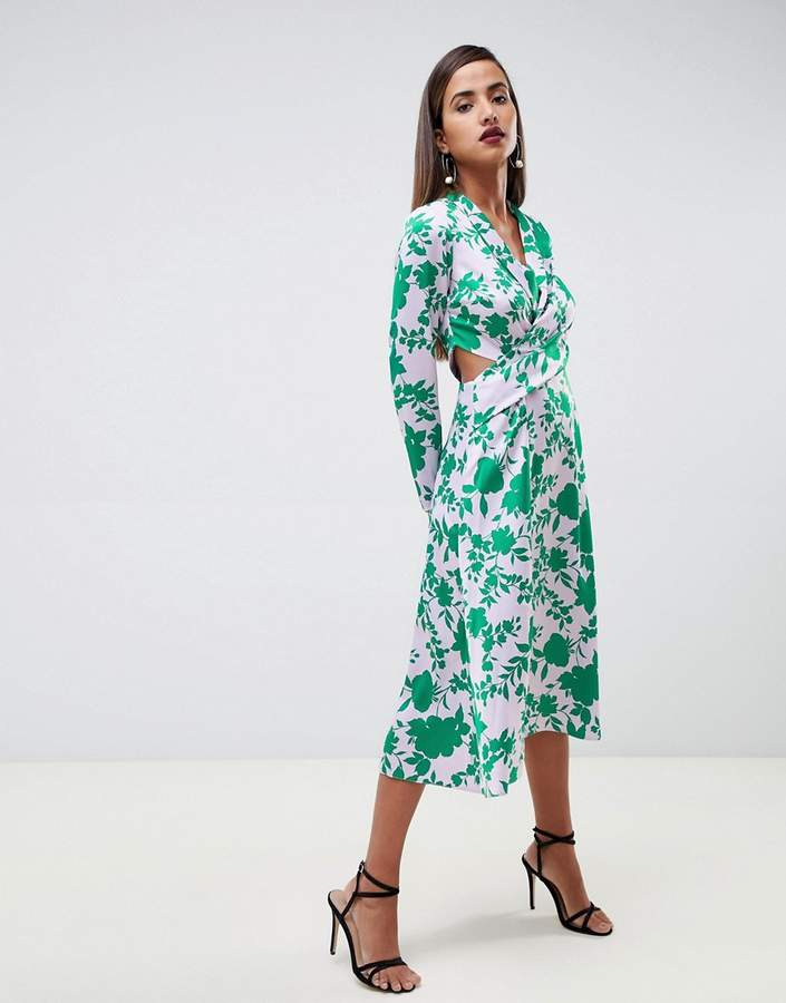 ASOS DESIGN collar midi tea dress in floral