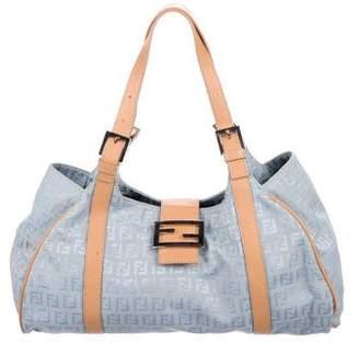 Fendi Leather-Trimmed Zucchino Shoulder Bag
