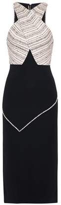 Roland Mouret Coated Striped Satin-Paneled Cady Dress