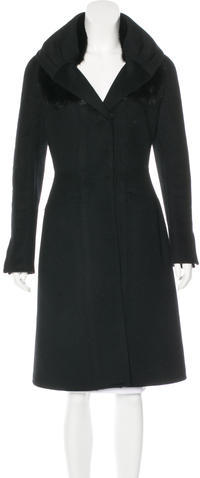 prada Prada Mink-Trimmed Wool-Blend Coat