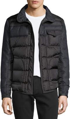 Moncler Blais Mixed-Media Puffer Jacket, Charcoal