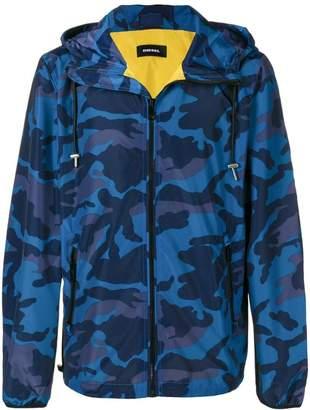 Diesel camouflage print hooded jacket