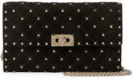 Valentino Rockstud Spike Quilted Suede Chain Shoulder Bag