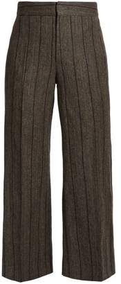 Isabel Marant Keroan Striped Flared Cropped Trousers - Womens - Dark Grey