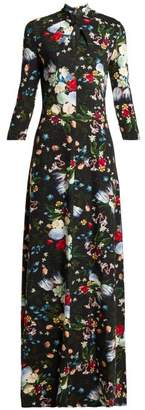 Erdem Niaedith Floral Jersey Dress - Womens - Black Multi