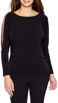 Bold Elements Long Sleeve Cold Shoulder Zipper Blouse