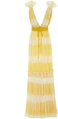 Prabal Gurung Tadia Ruffle-Shoulder Plissé Gown