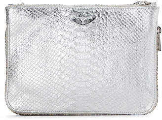 Zadig & Voltaire Silver Clyde Embossed Leather Crossbody