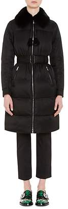 Prada Women's Mink-Fur-Trimmed Tech-Twill Coat - Black