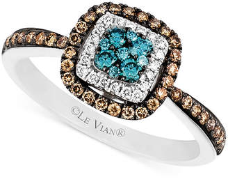 LeVian Le Vian Blue and White Diamond and Diamond Accent Ring in 14k White Gold (3/8 ct. t.w.)