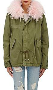 Mr & Mrs Italy Women's Fur-Trimmed Cotton Mini Parka-Army, Pink