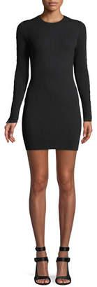 Jonathan Simkhai Ribbed Long-Sleeve Stapled Mini Dress